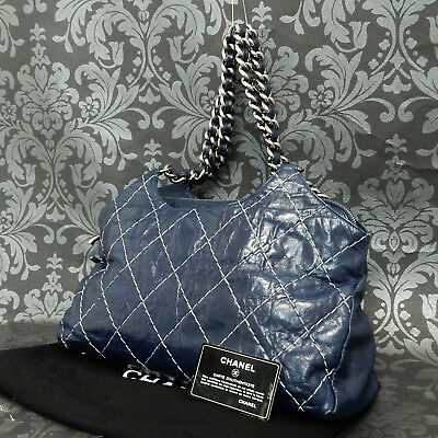 0ad8aa01a Rise-on CHANEL Wild Stitch Calfskin Navy Blue Leather Shoulder bag #1968