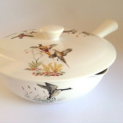 VILLEROY & BOCH Vintage 60s Fontainebleau Retro Flying Ducks Geese Skillet Dish