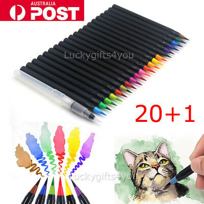 21pcs 20-Colour Pens Watercolor Drawing Painting Brush Sketch Manga Marker OZ