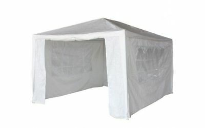 3Mx4M PE Garden Gazebo Marquee Canopy Awning Party Tent Fullsides White UK