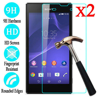 2x Premium Real Screen Protector Premium Tempered Glass Protective Film For Sony