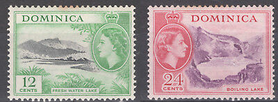 2 x 1954 Dominica Postage Stamps 12¢  24¢ QEII & Scenes MH