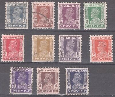 11 x 1939-42 India Postage Service Stamps KGVI Used