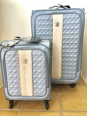"""Guess Harker 18"""" and 28"""" 4 Wheel Spinner Upright Luggage Travel 2 Piece Set BNWT"""