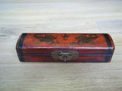 Antique Chinese Incense BOX Dragon Red Wood Lacquered W/Brass Latch Pencil/Pen