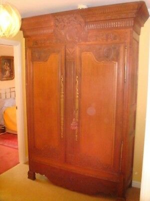 Antique French Oak Wardrobe Armoire de Mariage Rich Bird and Grappes Carving