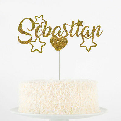 Custom Personalised Die Cut Glitter Birthday Party Cake Topper Name Names Shapes