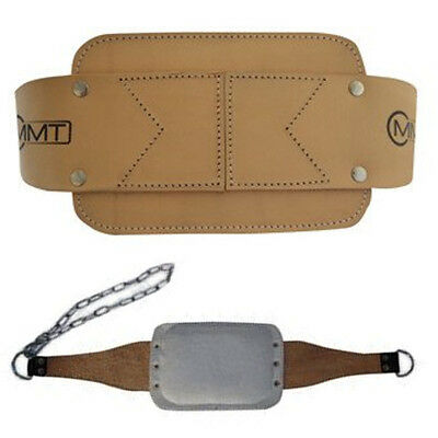 MMT Weight Lifting Body Building Leather Heavy Duty Dip Belt With Extra Padding