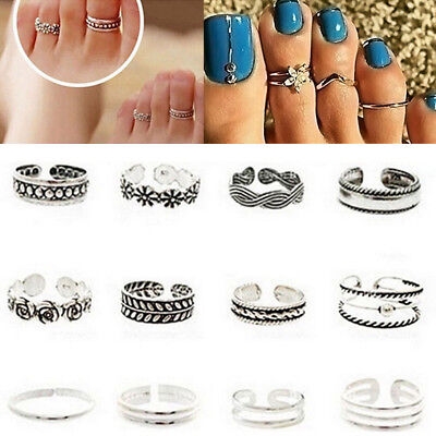 12PCs/set Celebrity Silver Vintage Toe Ring Women Punk Style Finger Foot Jewelry