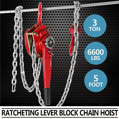 3Ton 5FT Ratcheting Lever Block Chain Hoist Come with Pulley Heavy Duty
