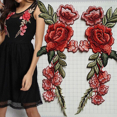 2PCS Red Rose Flower Iron On Embroidery Applique Patch Sew Iron Badge