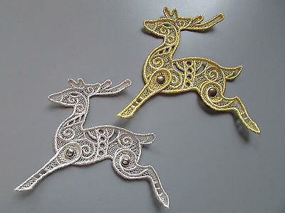 Embroidered Metallic Lace Reindeer Applique with moving tail & legs Silver/Gold
