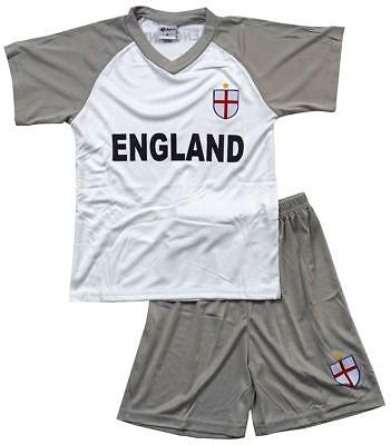 Boys Top Shorts Suit ENGLAND  V-Neck Football Sports Outfit Set 1 to 14 Years