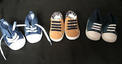 3 Baby Boy Shoes Boots Trainers 0-3 months / Size 1 / Up to 6 months /Mothercare