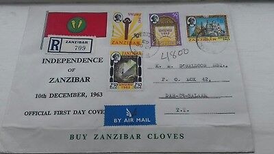 Independence of Zanzibar 1963 REGISTERED COVER  illustrated with flag POSTFREE