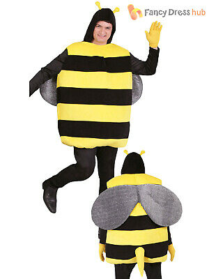 Adults Bumble Bee Costume Mens Ladies Insect Fancy Dress  Worker Stag Fun Outfit