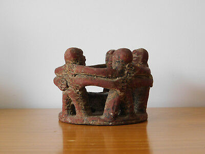 c.20th - Vintage in Mayan Azte Style -  Circle of Friends Pottery Candle Holder