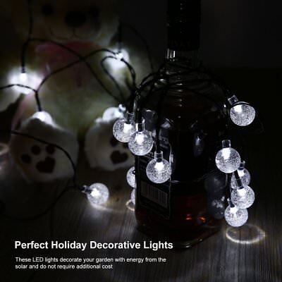 LED Solar Powered Waterproof Clear Bubble Ball Lights String Christmas Decor UX