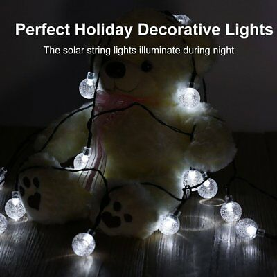LED Solar Powered Waterproof Clear Bubble Ball Lights String Christmas Decor ZX