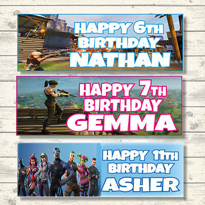 2 Personalised Fortnite Game Birthday Banners - Any Name - Any Age