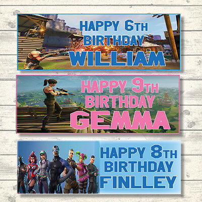 2 Personalised Fortnite Birthday Banners - Blue Or Pink - Any Name - Any Age