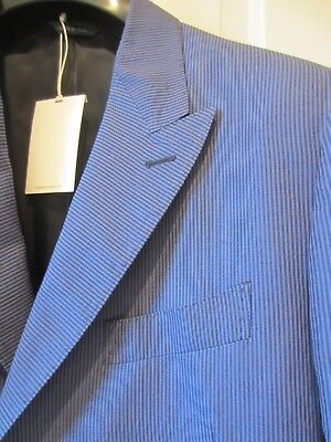 Kent & Curwen England Men's Blue Striped Made In Italy Blazer Nwt Size 42R