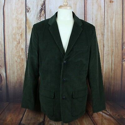 LL Bean Men's Barn Coat 42 Tall Olive Green Corduroy Blazer Large VTG