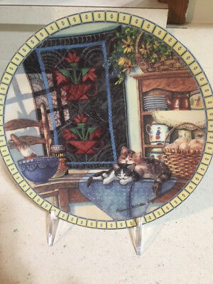 """Cozy Country Corners """"Lazy Morning"""" Cat Collector Plate by Hannah Hollister"""