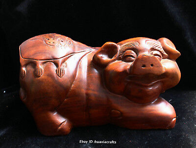 20cm Chinese Natural Red Wild Jujube wood Handmade Animal Pig Sculpture HBHD