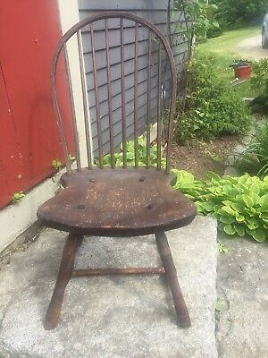 1700s DELAWARE Original PAINT Period Antique American Sack Back Windsor Armchair