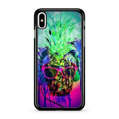 Water Painted Colourful Funky Pineapple Tropical Fruit Face 2D Phone Case Cover