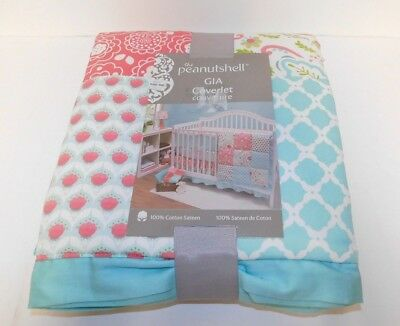 Peanut Shell ~ Baby Girl COVERLET Quilt in Aqua & Coral ~ GIA Pattern
