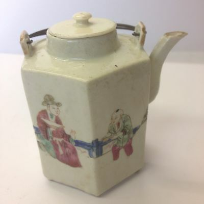 Antique 19th Century Chinese Famille Rose Teapot With Painted Figures. Wrong Lid
