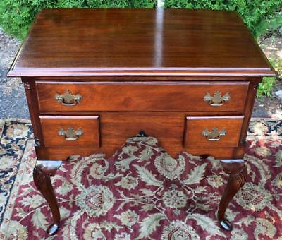 Antique English Queen Anne Carved Mahogany Lowboy Dressing Table 19th Century