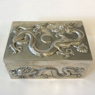 """Antique Chinese Solid Silver Box Embossed Dragons Chasing Pearl Cumwo? 4.5"""" X 3"""""""