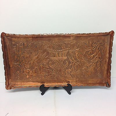 Antique Arts And Crafts Newlyn Style Copper Tray With Repousse Decoration 58.5cm