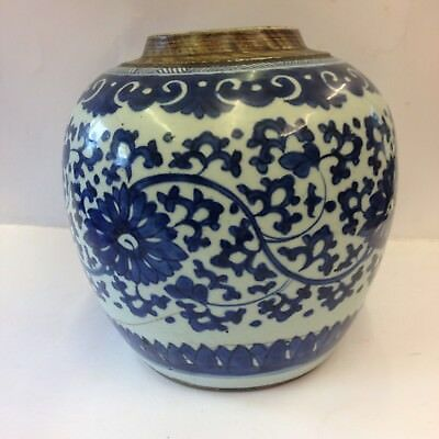 Antique Chinese Kangxi Period Blue And White Floral Ginger Jar Repaired 18th Cen