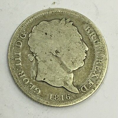 Antique George III Georgian Silver 1816 One Shilling Coin