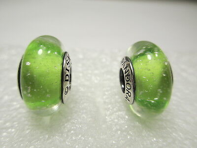 2 Authentic Pandora Silver 925 Ale Disney Tickbell Green Glass Beads Charms New