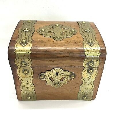 Antique Gothic Revival Oak & Brass Tea Caddy Single Section Glass Interior A/F