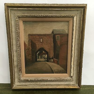 Antique Late 19th Century Street Scene Signed E Evans Oil On Canvas