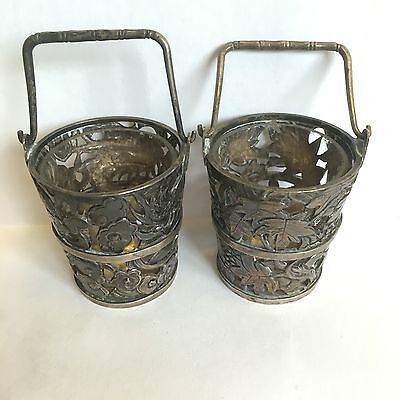 Antique Pair Of Solid Silver Chinese Tuck Chang Salt Sellers Novelty Bucket Form