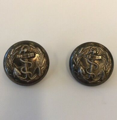 Antique Silver Colour Set Of 6 Navy Buttons Possibly Confederate Civil War 27mm