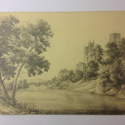 Antique Sketch Of The River Wear Durham Cathedral