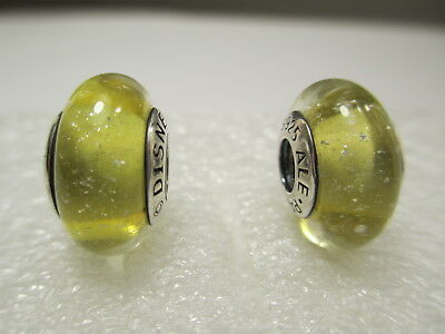 2 Authentic Pandora Silver 925 Ale Disney Belle Yellow Glass Beads Charms 791643