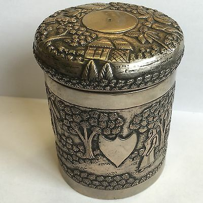 Antique Indian Colonial Solid Silver Box Jar Possibly Tea Caddy 9cm X 7.5cm