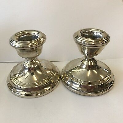 Antique Style Pair Of Solid Silver Dwarf Candlesticks By W I Broadway H 6.5cm
