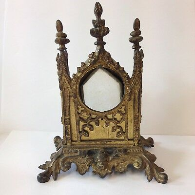 Antique Spelter Gothic Clock Case Pocket Watch Stand