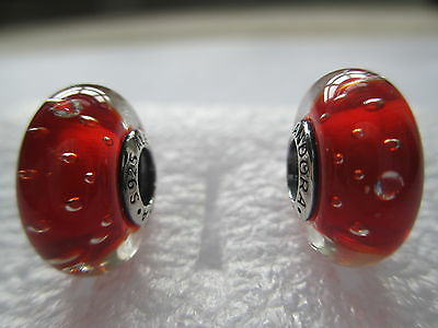 2 Authentic Pandora Silver 925 Ale Red Effervescence Clear Bead Charm 791631CZ
