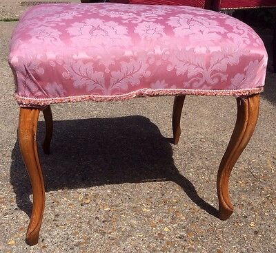 Antique Victorian Walnut Dressing Table Stool Cabriole Legs Upholstery Project